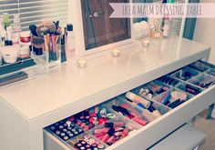 Furniture: What Do You Think about Your Makeup Table? - Bathroom Vanity With Makeup Table, Mirrored Makeup Vanity Table, Makeup Tables Ikea Ikea Makeup Storage, Makeup Organization, Makeup Drawer, Makeup Vanities, Bathroom Storage, Small Bathroom, My New Room, My Room, Ikea Malm Dressing Table