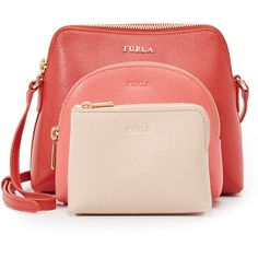 Furla Boheme Cross Body Bag ($240) ❤ liked on Polyvore featuring bags, handbags, shoulder bags, leather handbags, pink crossbody, pink leather handbag, crossbody purse and leather purse
