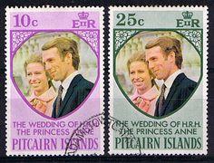 1973 Pitcairn Islands Princess Anne Royal Wedding Set Fine Used                      SG 131 2 Scott 135 6                 Condition Fine Used