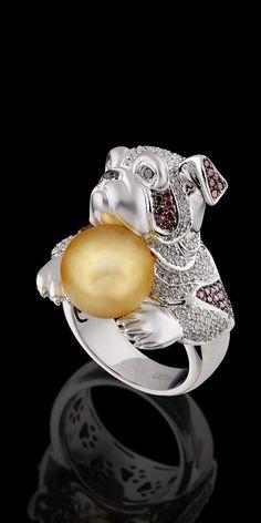 Master Exclusive 18K white gold, golden sea pearls, diamonds, black diamonds and cognac diamonds ring