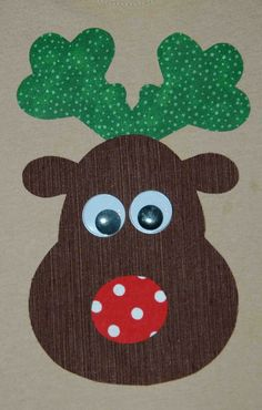 Christmas Chubby Reindeer Iron On Fabric Applique DIY No Sew You Choose Fabric