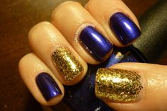 Baltimore Ravens Superbowl Nails! (OPI Tomorrow Never Dies and China Glaze Treasure Chest)
