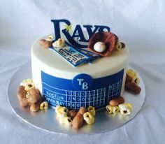 A Tampa Bay Rays cake with hand-made fondant peanuts and popcorn.