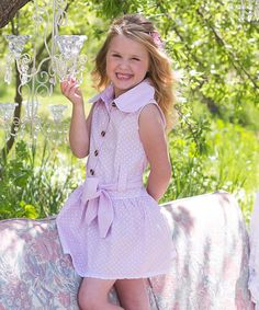 Lavender & White Polka Dot Sleeveless Dress - Toddler & Girls by Sweet Charlotte #zulily #zulilyfinds
