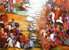 Nader Shah, future Shah of Persia, defeating the Afghans at Mehmandust , 17729. The painting was commissioned a decade afterwards, artist unkown.