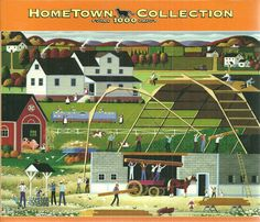 "1000 Pieces -- ""Barn Raising"" -- Art by Heronim; Puzzle by MEGA Brands America, Inc. (MEGA Puzzles) and RoseArt, Hometown Collection; Copyright unknown; Completed size:  18-15/16"" x 26-3/4""; Purchased at Deseret Industries for $1.00 on 14 Nov 2014 and Completed on 21 Nov 2014; COMPLETE!!"