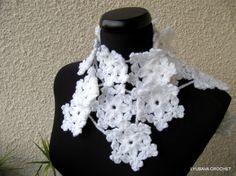 Crochet Snowflake Scarf Lariat, Christmas Gift Winter Accessories, Scarf Lariat Necklace White Snowflakes, Cyprus Crochet Lyubava. $11.99, via Etsy.