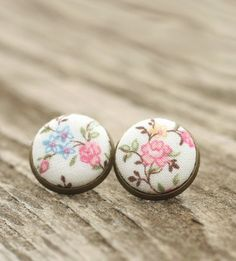 Stud Earrings, Floral Earrings, Earring Studs, Cherry Blossom Earring, Fabric Button Jewelry, Pink Flowers Stud, Cottage Chic, Antique Posts - pinned by pin4etsy.com
