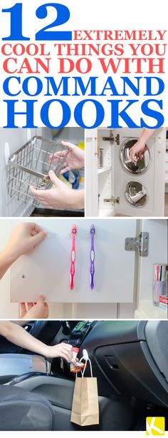 12 extremely cool and creative command ideas and hacks! I use them to organize my bathroom, kitchen, bedroom & more! #9 is a must-see!