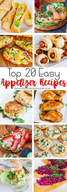 Top 20 Easy Appetizer Recipes All the best appetizer recipes in one place! Perfect for parties, holidays and celebrations – smalls snacks, hot and cold appetizers and sandwiches! Light Appetizers, Cold Appetizers, Great Appetizers, Tatyana's Everyday Food, Everyday Holidays, Best Appetizer Recipes, Easy Recipes, Vegan Recipes, Gluten Free Puff Pastry