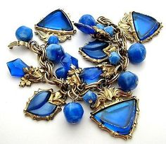 Chunky Charm Bracelet Blue Beads Gold Plated Double Link Vintage