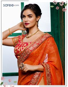 Orange and Cream Georgette Saree with Embroidery Work - 14