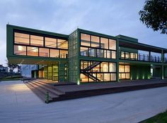green framed transparent container house