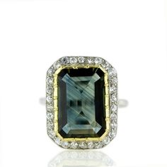 Antique Fancy Green Sapphire and Diamond Ring by amelia