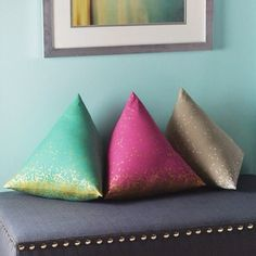 """My pyramid pillows! They're featured in the Spring '15 issue of Stitch magazine as well. I used Mochi canvas for these. ^_^ #cottonandsteel #mochifabric"""