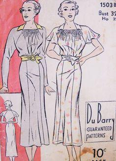 1930s Lovely Easy To Make Dress Pattern DUBARRY 1503B Pretty Shirred Neckline Long Raglan Sleeves or Short Flutter Bust 32 Vintage Sewing Pattern