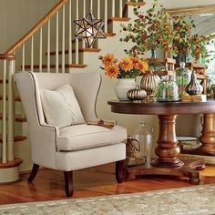 Create a welcoming entryway in your foyer by adding decorative accents and warm colors! Head to the link in our profile to shop this fall festive look. #birchlane #homedecor #entryway #fall #warmwelcome
