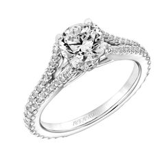 New for our Spring collection! Darlene: Classic Diamond Prong Set Engagement Ring with Split Diamond Shank and Bezel Set Diamond Collar #artcarvedbridal #spring #whitegold #engagementring
