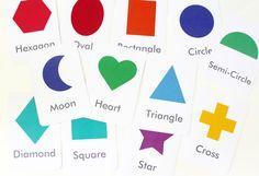 Free printable: Shapes and colours flashcards // Tarjetas para aprender los nombres de las formas y los colores #bilingual #arts