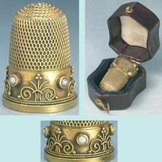 Antique English Solid 15 KT Gold Thimble w/Pearls in Leather Case; Circa 1860.  How lovely this is!