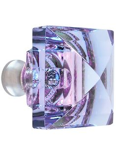 Blue to Lavender Lead-Free Square Crystal Knob with Solid Brass Base | House of Antique Hardware