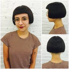 Your hair says a lot about you, so we love when we get to do unique, statement-making cuts. Here's Amy's client with a blunt undercut bob - so mod!