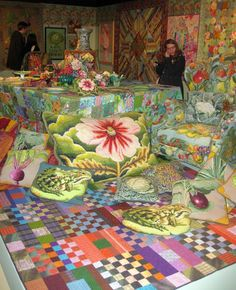 """opening day, """"Kaffe Fassett - A Life in Colour"""" at the Fashion and Textile Museum, London.  Posted by Valerie Huggins Quilts and Textiles"""