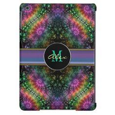 Groovy Psychedelic Monogram Fractal iPad Air Case #psychedelic #monogram #iPad