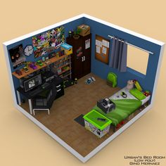 vaporwave city Urbans Room (Low poly room) by GinoPinoy Isometric Art, Isometric Design, Urban Rooms, Art Studio Room, Gamer Bedroom, Tech Room, Gaming Room Setup, Mini Doll House, Video Game Rooms