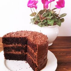 Chocolate Frosting Fudge Cake - three layers of chocolate love