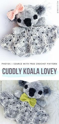 Amigurumi and Crochet Toys Cuddly Koala Lovey Free Crochet Pattern Body Jew Crochet Lovey Free Pattern, Easy Crochet Patterns, Free Crochet, Knitting Patterns, Crochet Ideas, Crochet Stitches, Crochet Bebe, Crochet For Kids, Crochet Toys
