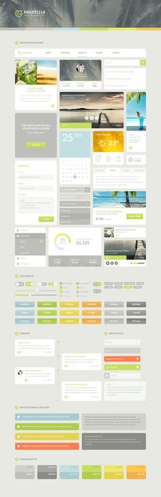 Flat UI kit Mojito UI on Inspirationde Game Design, Graphisches Design, Web Ui Design, Dashboard Design, Flat Design, Graphic Design, Interface Web, User Interface Design, Web Design Trends