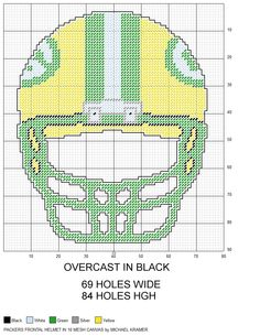 Green Bay Packers NFL Frontal View Football Helmet plastic canvas pattern by Michael Kramer Plastic Canvas Ornaments, Plastic Canvas Crafts, Plastic Canvas Patterns, Cross Stitch Charts, Cross Stitch Patterns, Football Crafts, Sport Craft, Charts And Graphs, Canvas Designs
