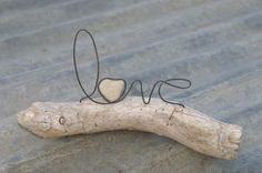 LOVE wire word and heart stone on driftwood by whimsyantiques, $28.00
