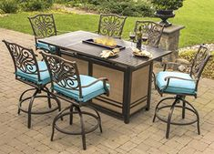 Hanover Traditions High-Dining Bar Set in Tan with BTU Fire Pit Bar Table (Tan), Size Sets, Patio Furniture (Aluminum)