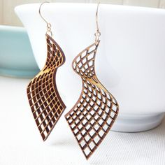 curve laser cut earrings