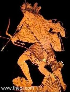 Artemis with bow in the War of the Giants | Greek vase, Athenian red figure amphora