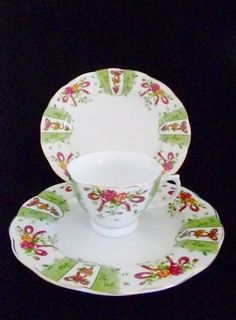 Porcelain 3 Piece Tea Cup and Plates, Made for London