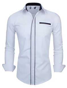 Tom's Ware Mens Classic Slim Fit Contrast Trim Longsleeve Shirt