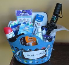 Forget Me Not graduation gift basket for the grad who is heading off to college. Use a plastic caddy (for dorm room shower) to hold all those items it is easy to forget when going away to college. For example: umbrella, white board and pen, reminder note pad, post it notes, white out, hand sanitizer, band aides, thermometer, bath spray, index cards and highlighters for class, flip flops for shower, CHOCOLATE, mini stapler and staples for back pack. I ran out of room before I ran out of…