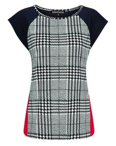 Anthea Crawford HOUNDSTOOTH STRETCH JERSEY SPLICE TOP