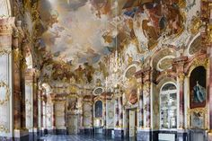 Ansicht des Marmorsaals in Schloss Bruchsal