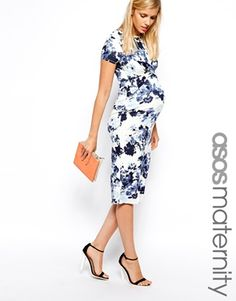 ASOS Maternity Exclusive Bodycon Dress with Cross Front in Floral Print