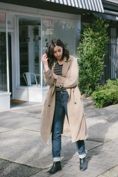 randa salloum, fashion blogger, vancouver fashion, street style, stripe tshirt, oversized trench coat, blue jeans, casual style, weekend style, straight leg jeans
