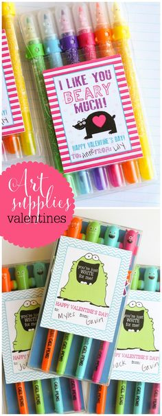 Art Supplies Valentines with free prints. Non candy Valentines idea.