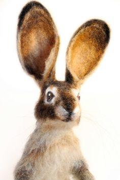 Needle Felted Hare Jack Rabbit Large Soft by YvonnesWorkshop, $450.00