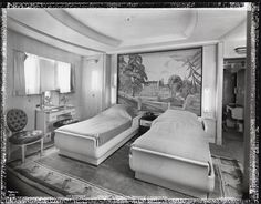 """[S.S. """"Normandie"""", Apartment de Grand Luxe """"Deauville"""" (A Bedroom #12), Cabin Class.] DATE:ca. 1935 A bedroom in an Apartment de Grand Luxe on the S.S. """"Normandie"""""""