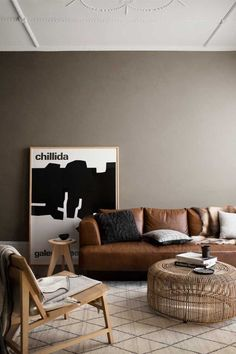 [New] The 10 Best Home Decor Ideas Today (with Pictures) - This scandi style livingroom inspo is definitely a dream come true for thouse who love leather and a warm ambience! Plus the leather lounge is timeless! Living Room Goals, Living Room Colors, Rugs In Living Room, Interior Styling, Interior Decorating, Interior Design, Interior Colors, Decorating Ideas, Murs Taupe