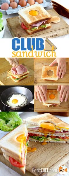 Throw an egg in a club sandwich and enjoy this crunchy sandwich! - Recipe Main Dish : Club sandwich with an egg - video recipe! Cooking Recipes, Healthy Recipes, Cooking Food, Pasta Recipes, Vegetarian Cooking, Cooking Ideas, Dinner Recipes, Homemade Sandwich Bread, Snacks Für Party