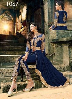 Best Quality Buy Authentic Product from Ustaad Only. Designer Dresses, Designer Blue Georgette Dress Material, Designer Lehenga choli, Designer Sari ETC. Bollywood Sarees Online, Bollywood Fashion, Designer Salwar Suits, Designer Dresses, Salwar Kameez, Indian Dresses, Indian Outfits, Anarkali Dress Online Shopping, Latest Anarkali Suits